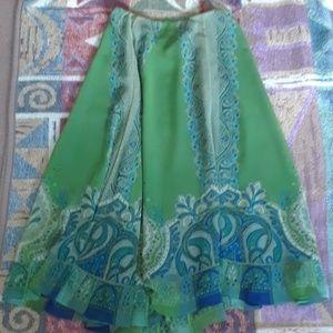 Coldwater Creek Beautiful Blue/Green Lined Skirt